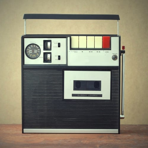 old monophonic cassette recorder from the early 1970s